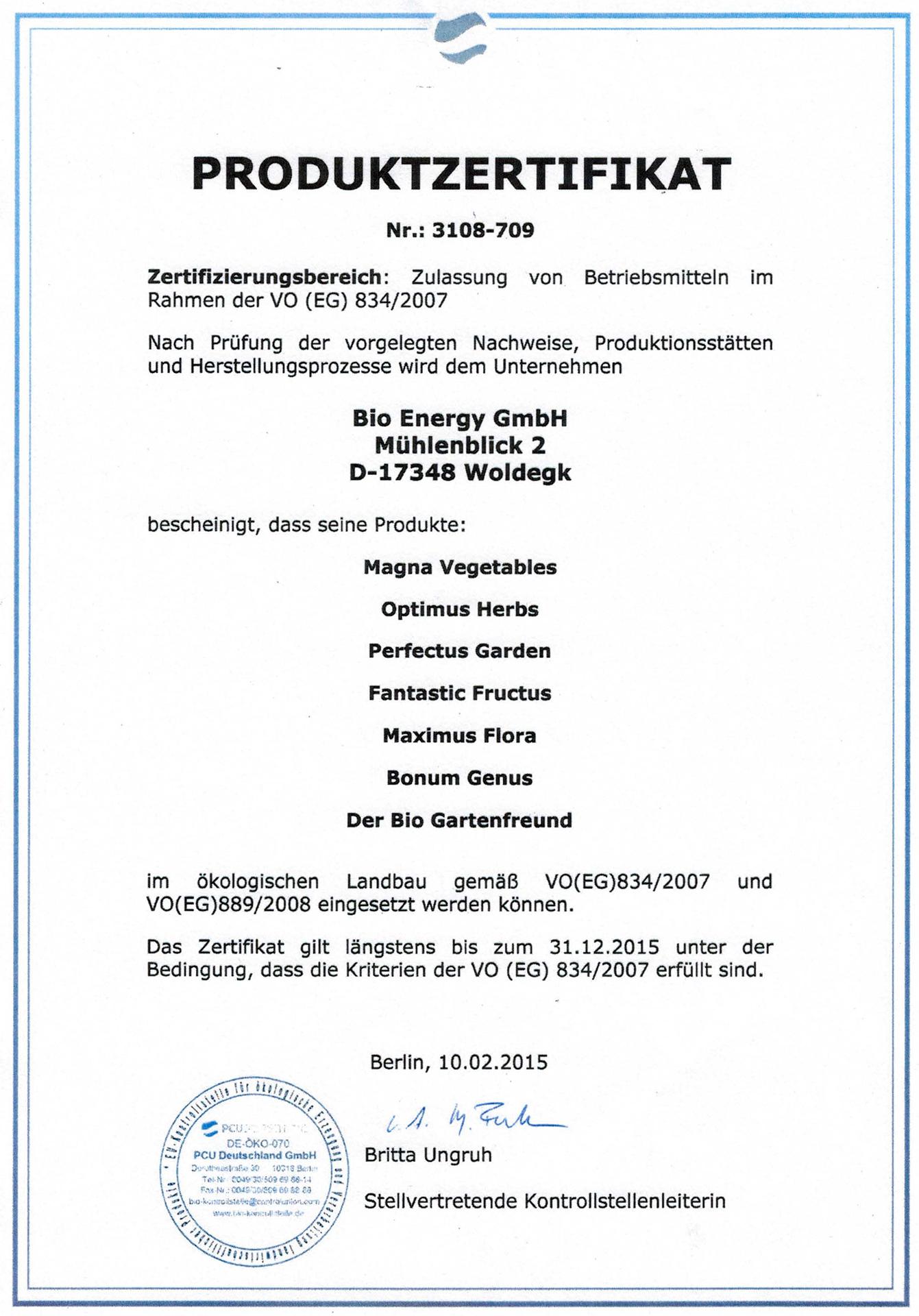 Produkte - Bio Dünger Zertifikat